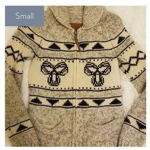 TNA Zip Cardigan Wool Sweater